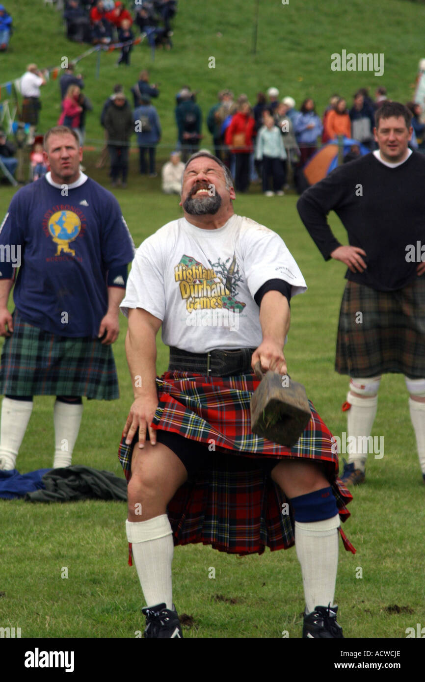 Competitor, weight tossing competition, Blair Atholl Highland Games, Blair Atholl, Perthshire, Scotland - Stock Image