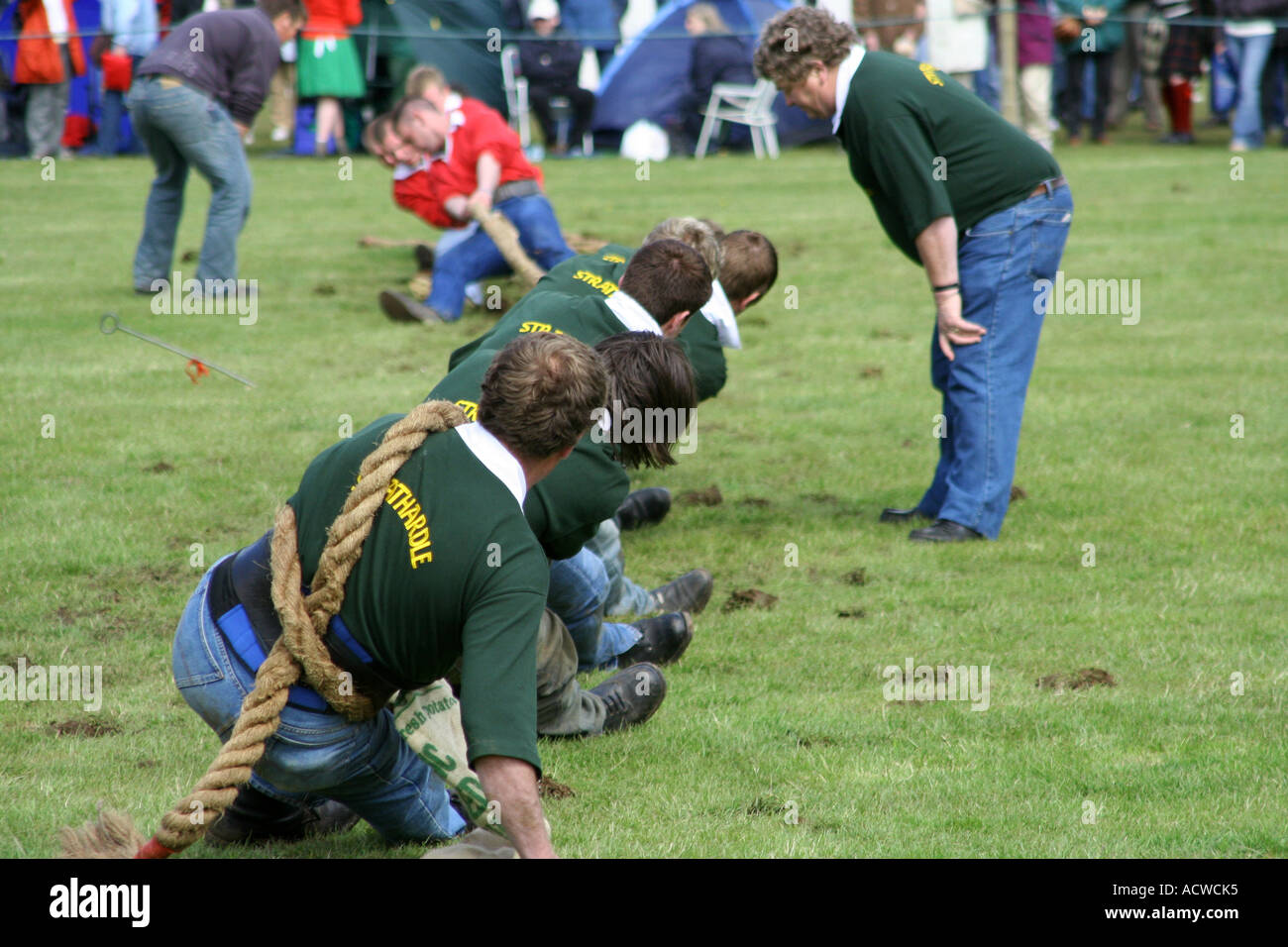 Tug of war competition, Blair Atholl Highland Games, Blair Atholl, Perthshire, Scotland - Stock Image
