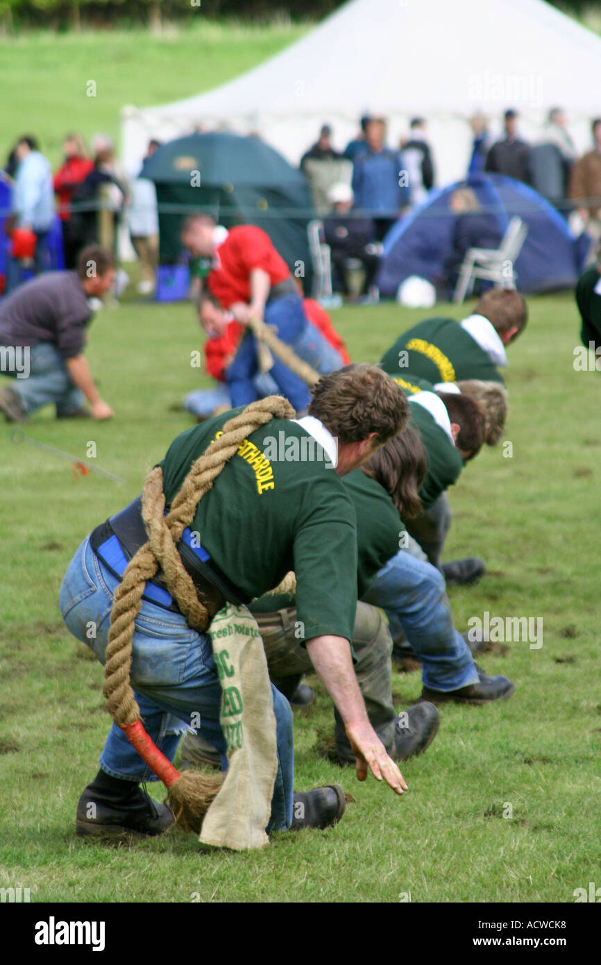 Tug of war competition, Blair Atholl Highland Games, Blair Atholl,, Perthshire, Scotland - Stock Image