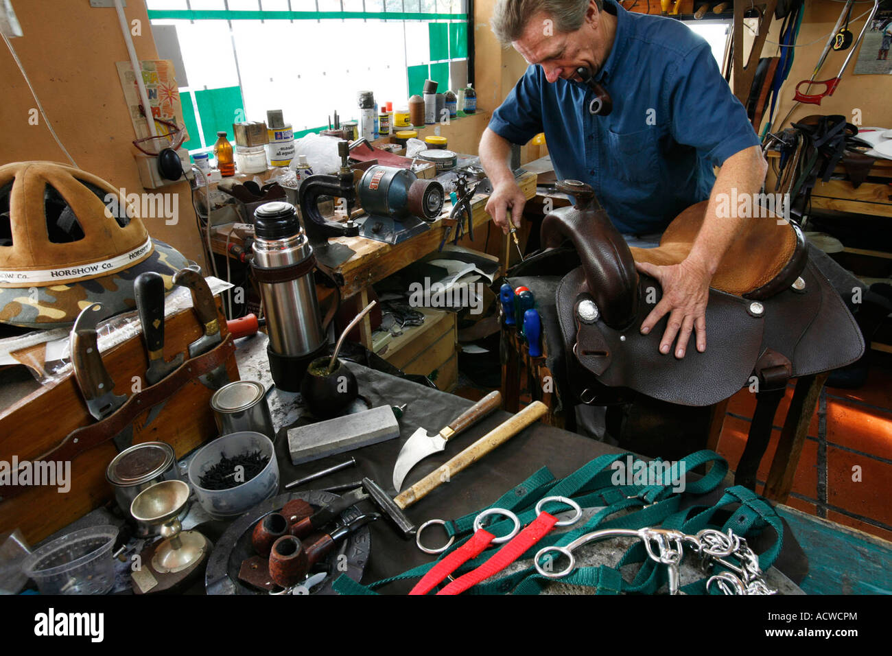 A horse mount workshop with tools of the trade in Buenos Aires Argentina - Stock Image
