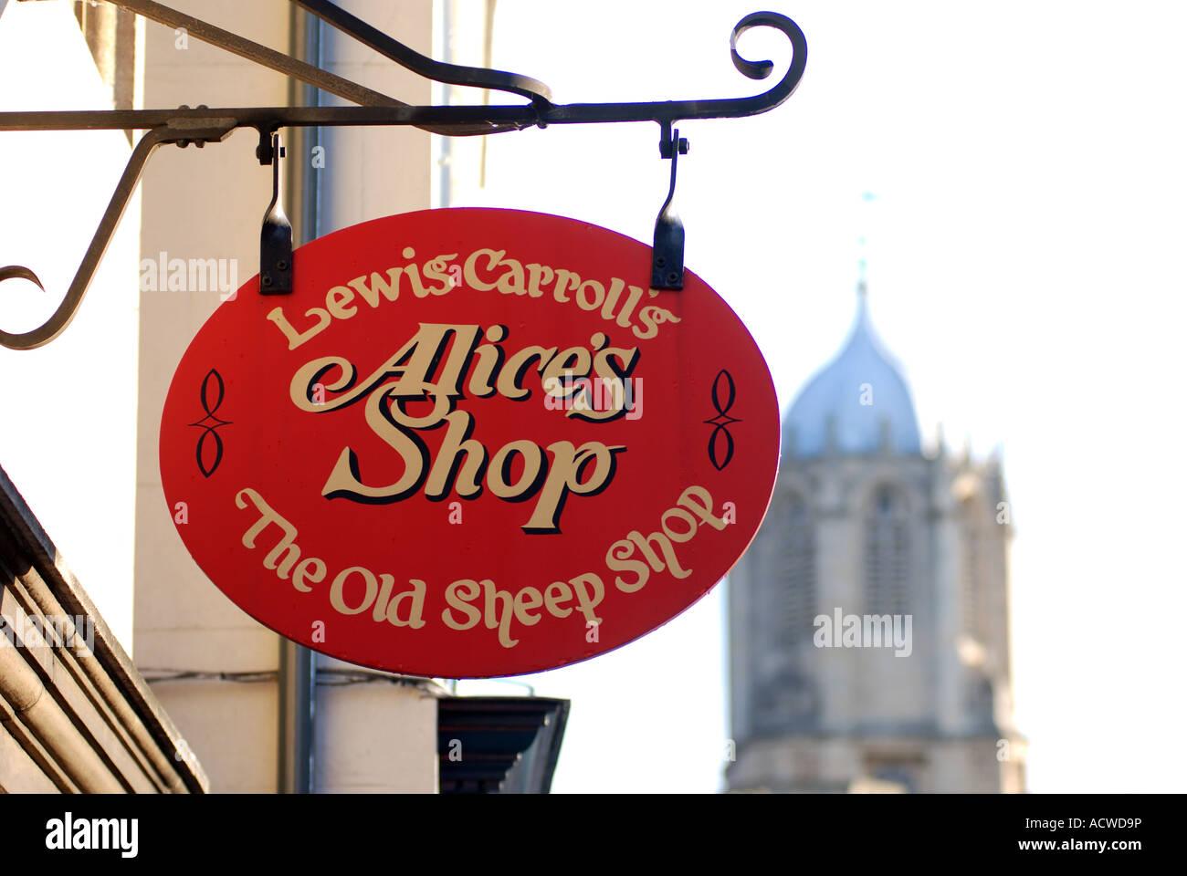 Alice`s Shop sign, Oxford, Oxfordshire, England, UK - Stock Image