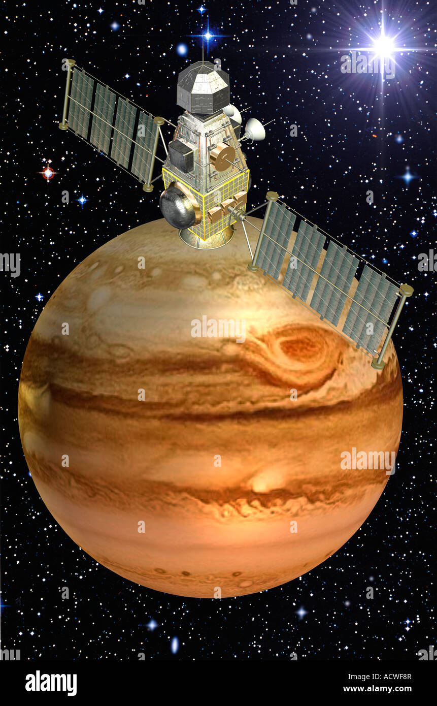 computer generated space vehicle shown  digitally approaching Planet Jupiter - Stock Image