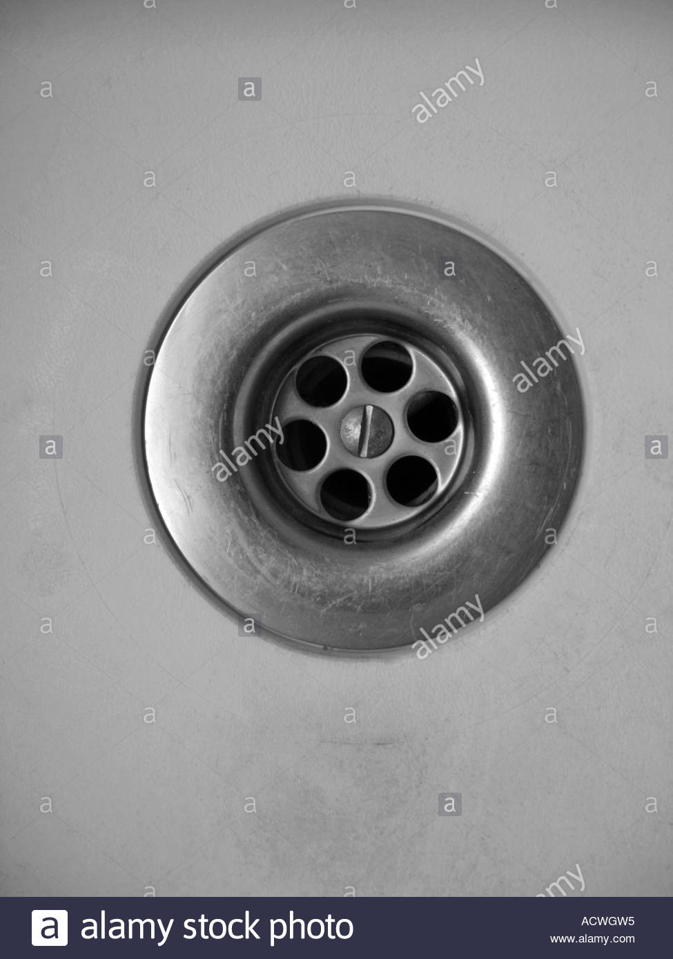 A sink and plughole - Stock Image