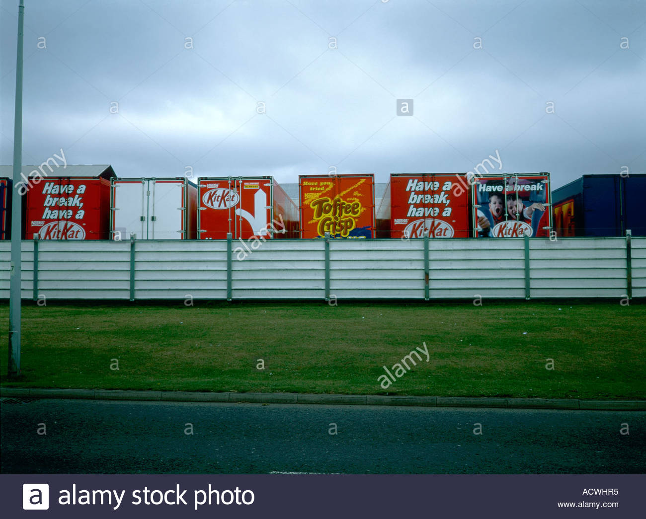 Nestle lorries in compound Scunthorpe East Yorkshire - Stock Image