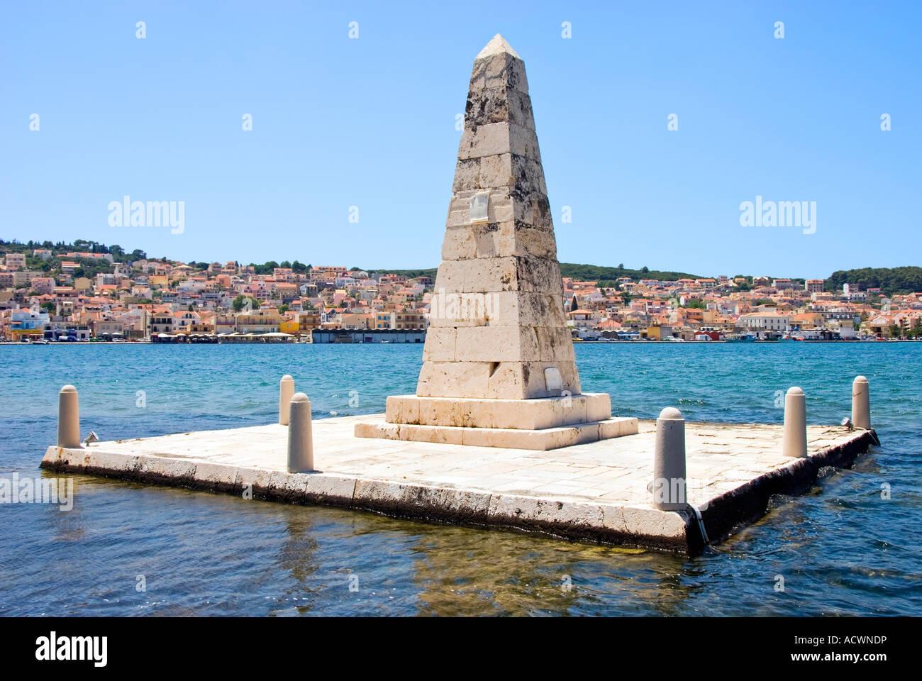 The Drapano Bridge Monument, Argostoli, Kefalonia Greece. - Stock Image