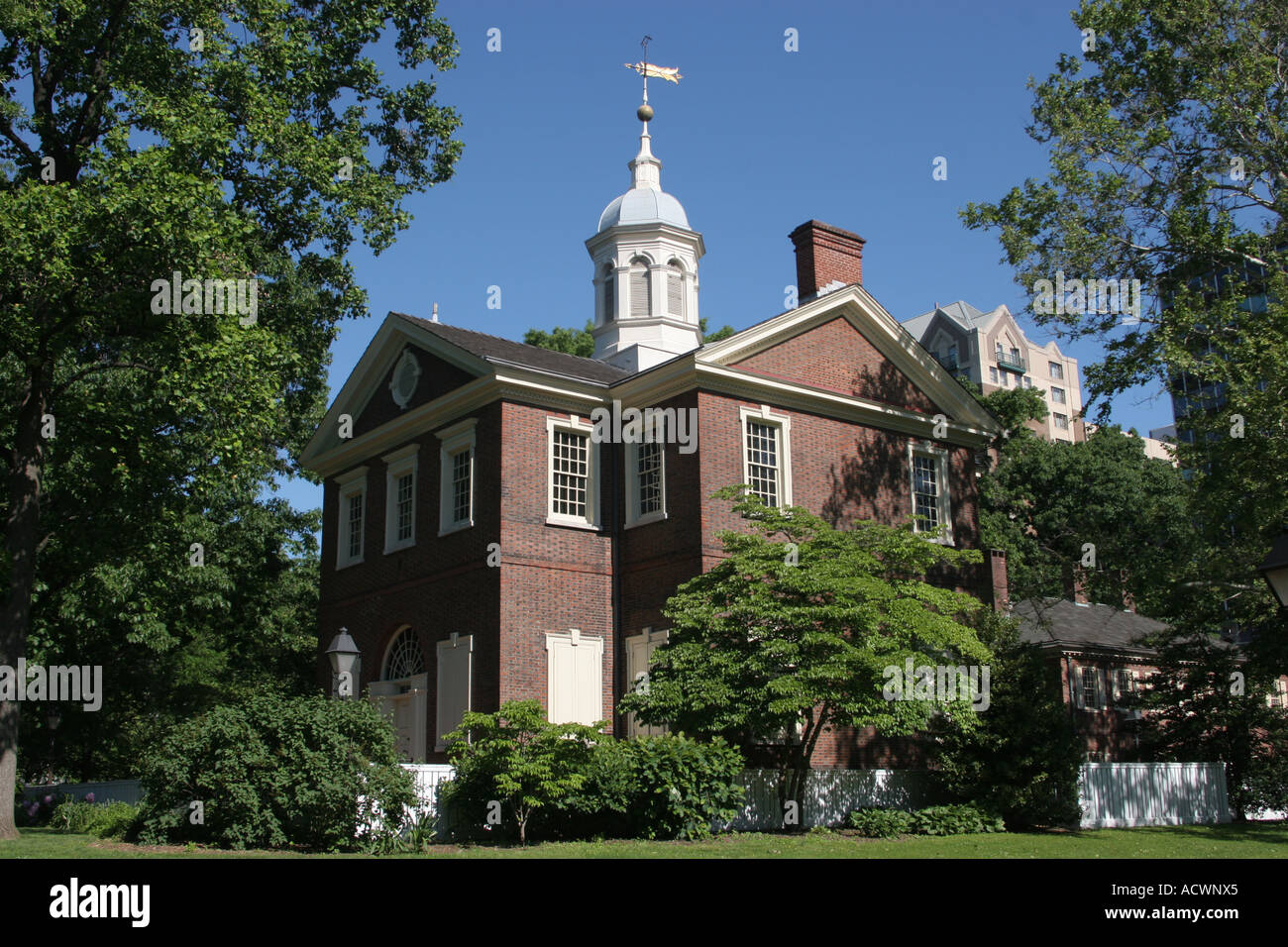 Carpenter s Hall Chestnut Street in Old City district Philadelphia Pennsylvania USA - Stock Image
