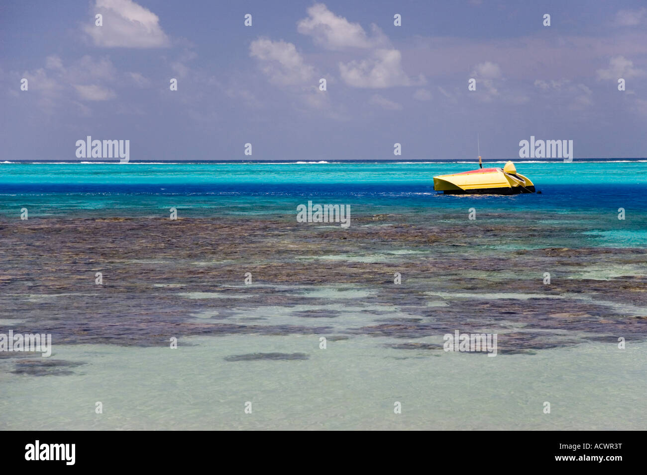 Fishing Boat In The Coral Reef Lagoon The Tropical Island Of Moorea French Polynesia