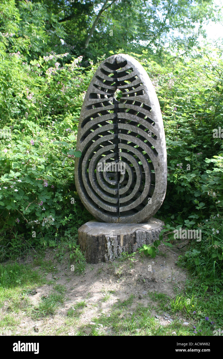 Wooden Carving Ardingly Reservoir West Sussex UK - Stock Image