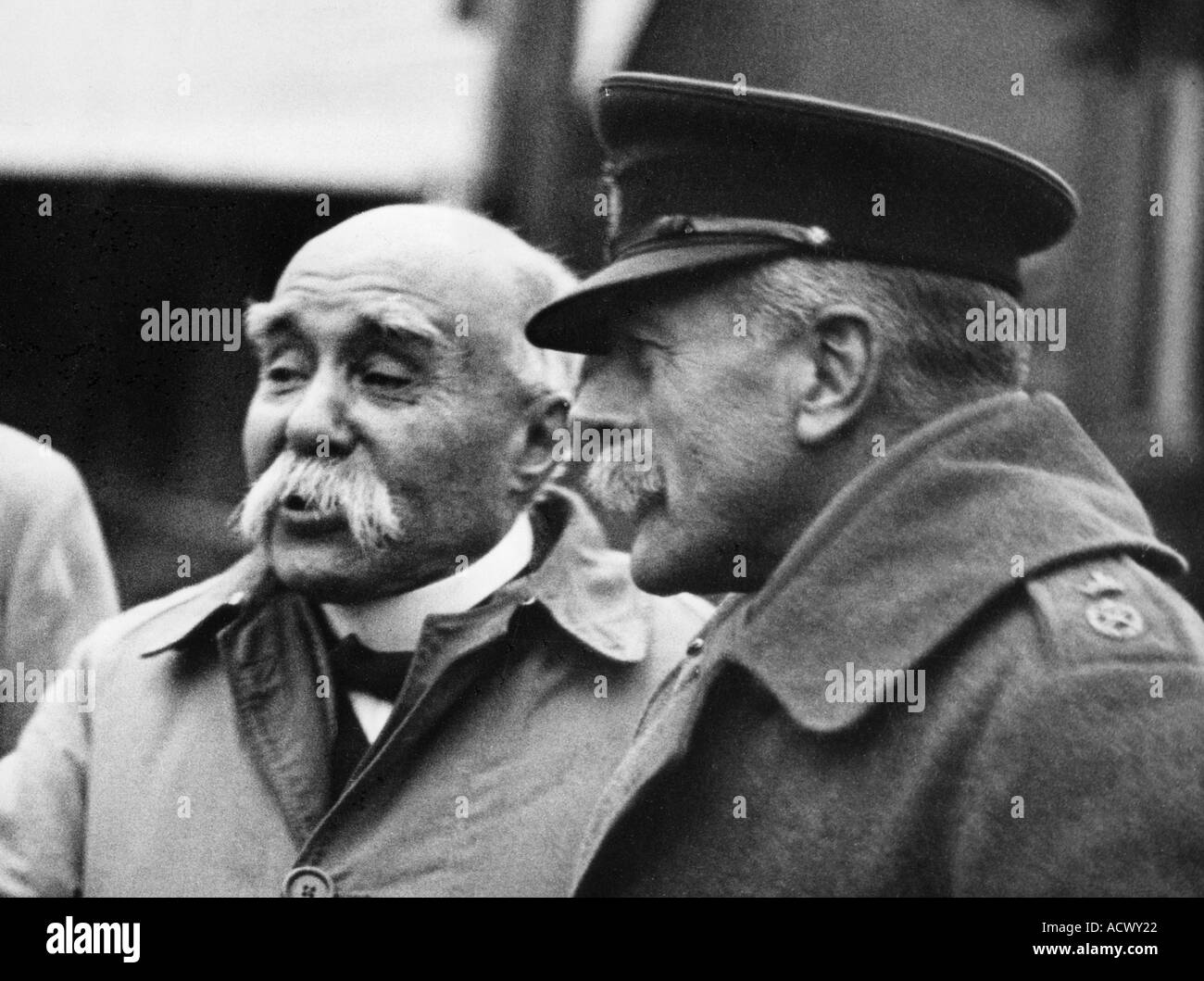 GEORGES CLEMENCEAU French Prime Minister and British General Earl Haig in 1918 - Stock Image