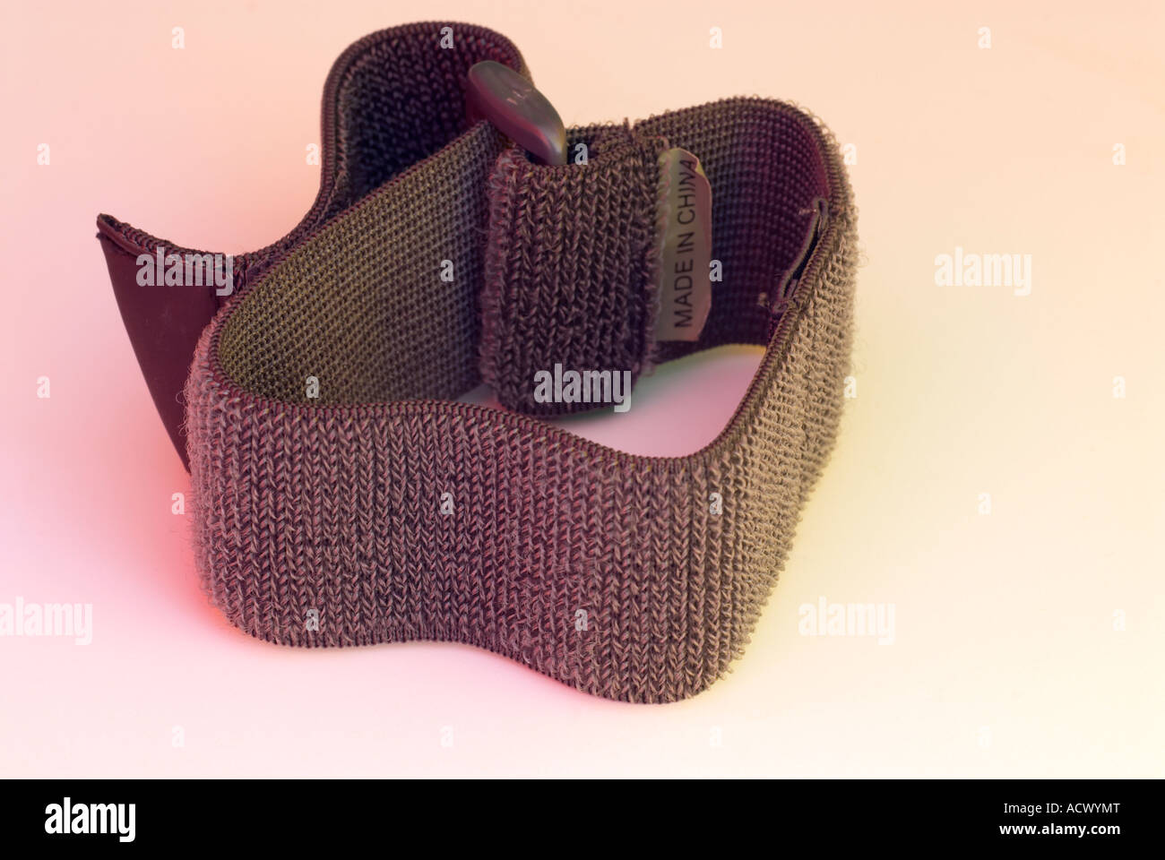 Grey velcro strap made in China - Stock Image