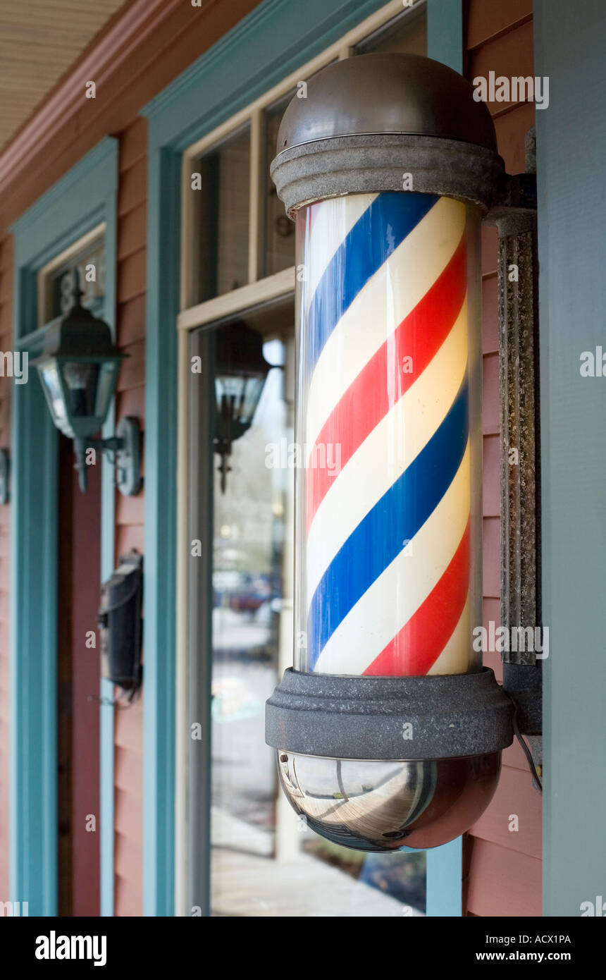 Red white and blue barber pole light