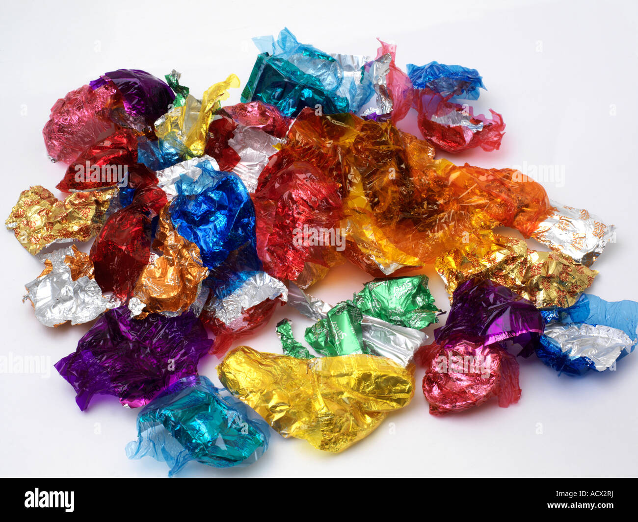 Pile of Sweet Wrappers - Stock Image