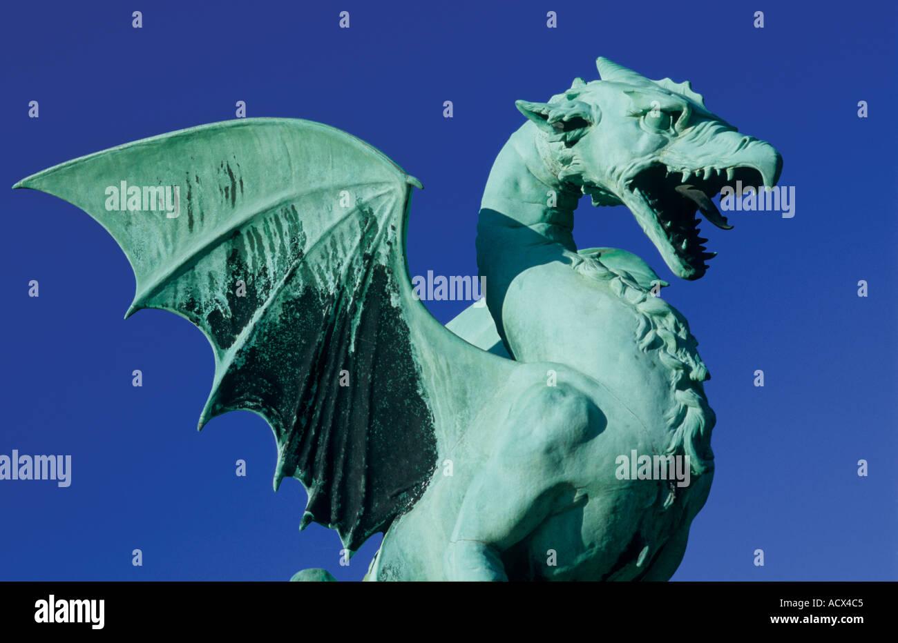 Dragon, Symbol of Ljubljana, Dragonbridge, Ljubljana Slovenia - Stock Image