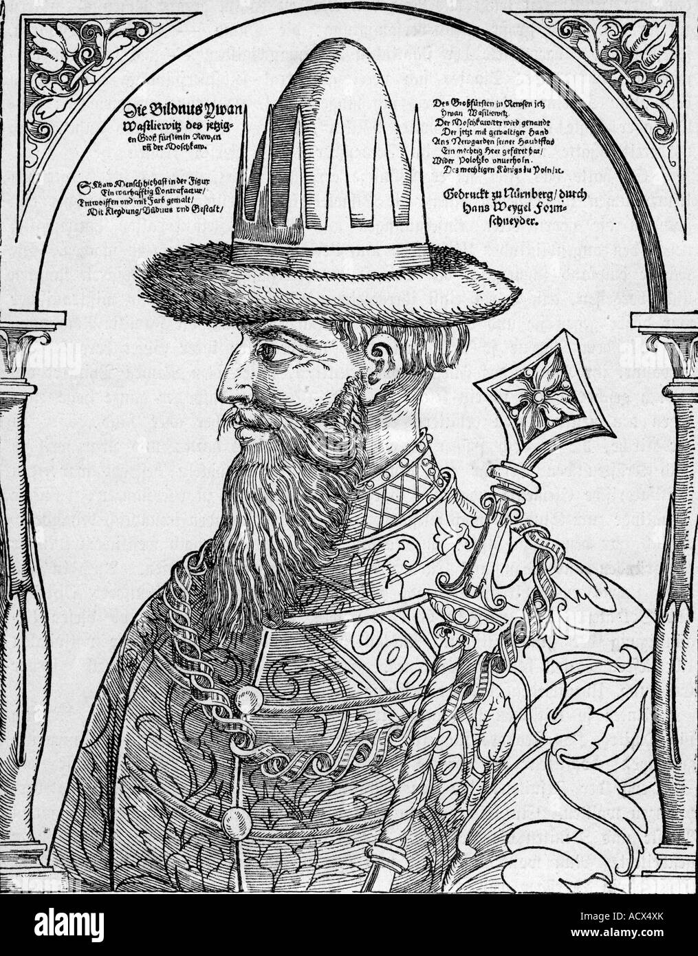 Ivan IV 'the Terrible', 25.8.1530 - 18.3.1584, Emperor of Russia 16.1.1547 - 18.3.1584, portrait, side view, - Stock Image