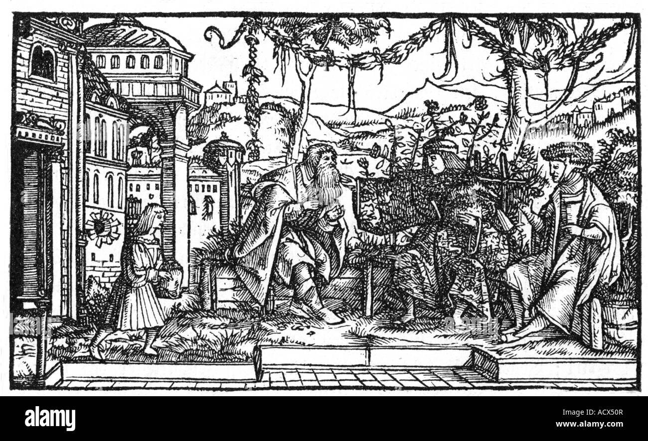 More, Thomas, 7.2.1478 - 6.7.1535, English philosopher and politician, work 'Utopia', illustration, woodcut - Stock Image