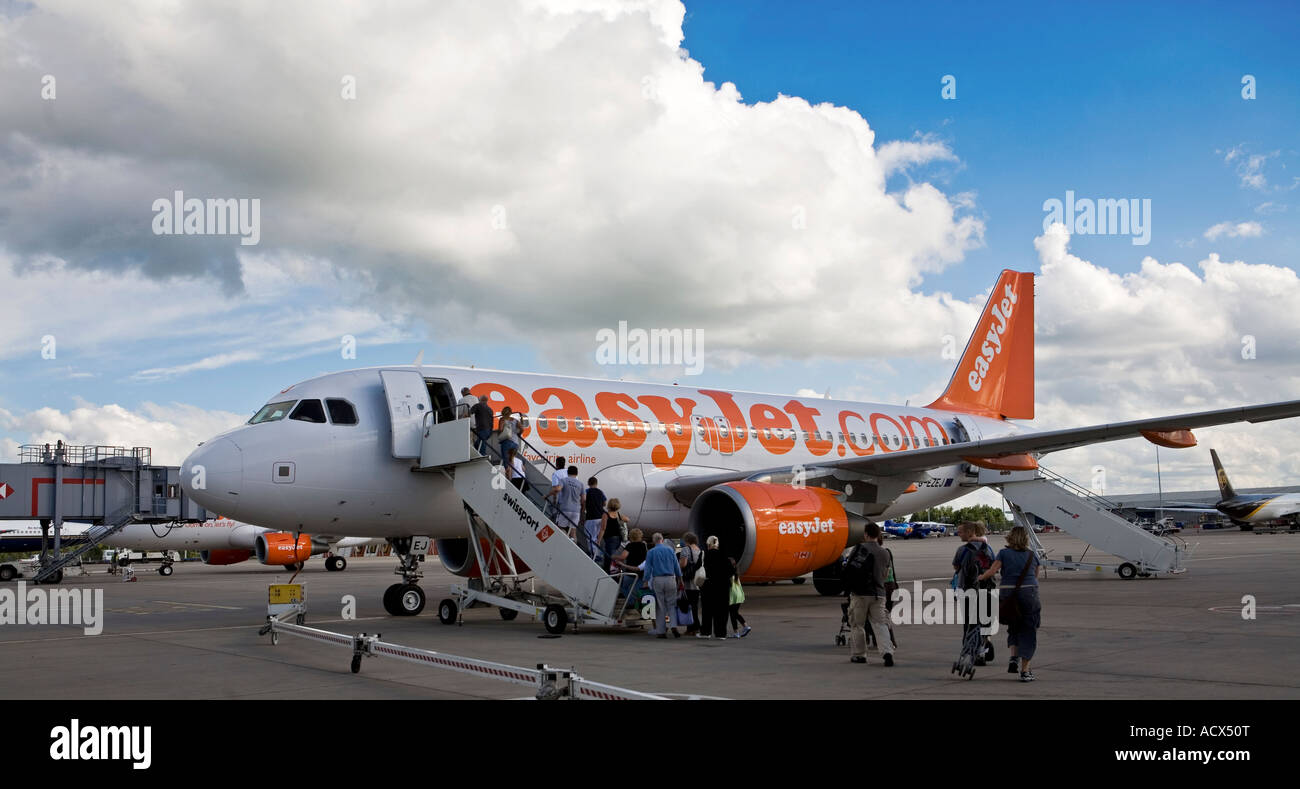 Easyjet plane on the runway at Stansted runway - Stock Image