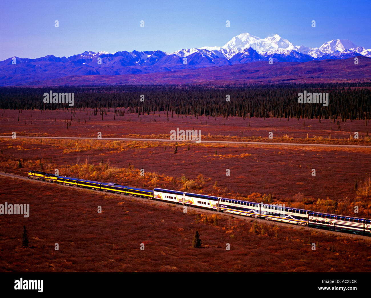 Alaska Railroad south bound train with Mt. Denali in the background - Stock Image