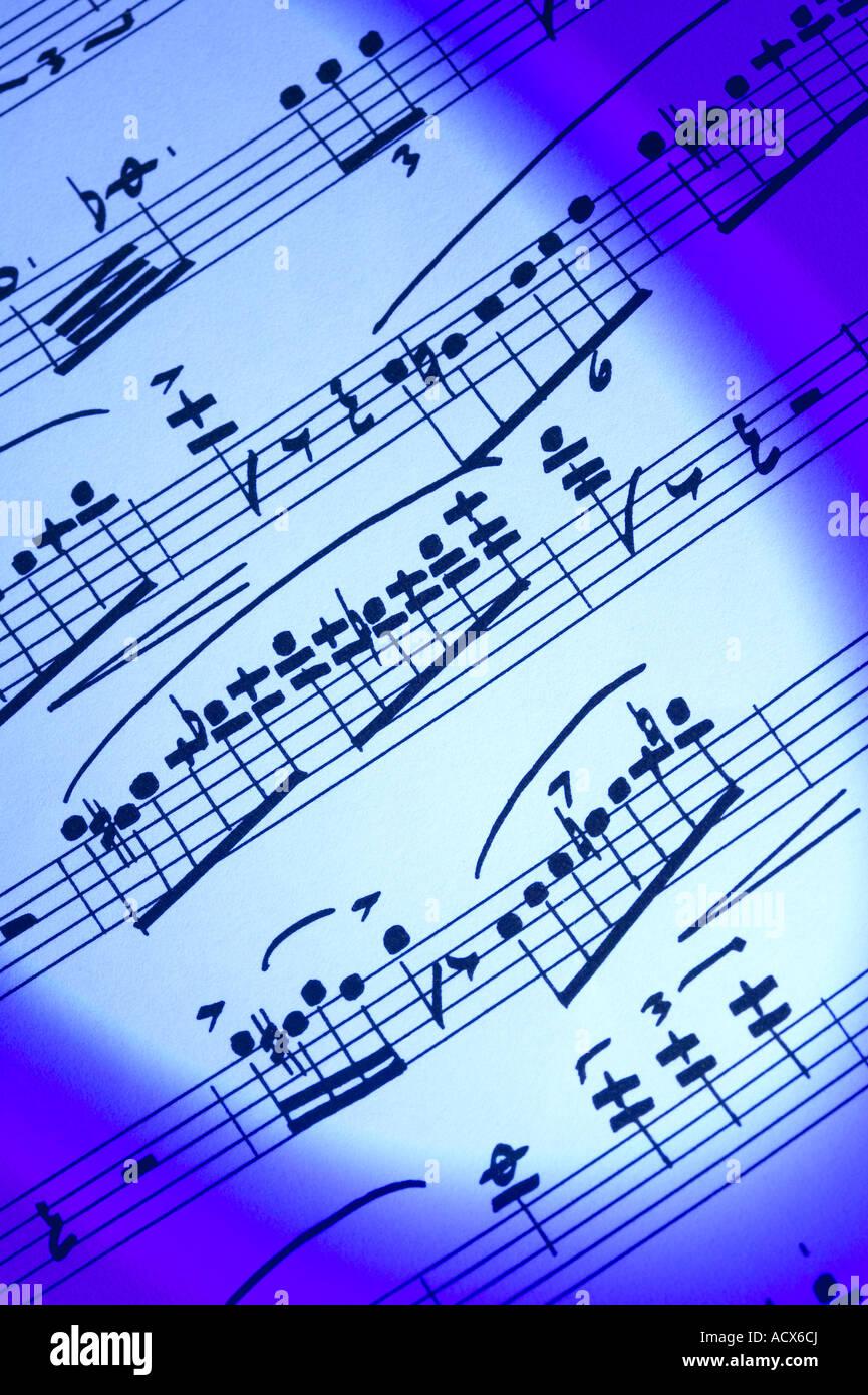 Handwritten sheet of music musical notes notation close up - Stock Image