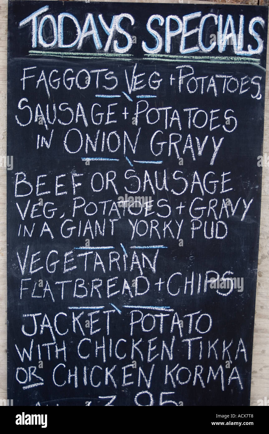 Excellent Pub Food - Today's specials - handwritten in chalk on a menu board  DH58