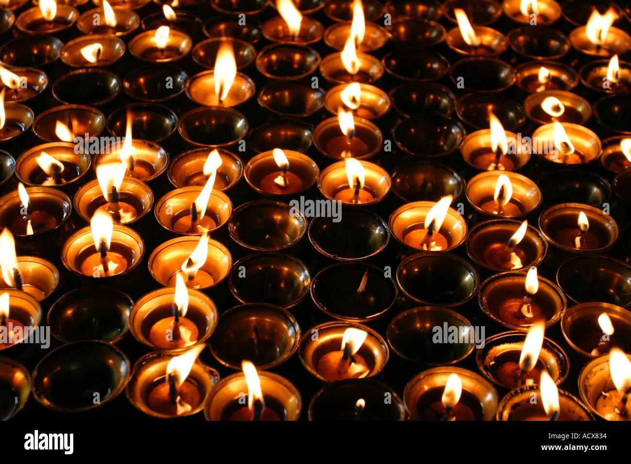 Prayer candles in the monastery at Swayambhunath - Stock Image