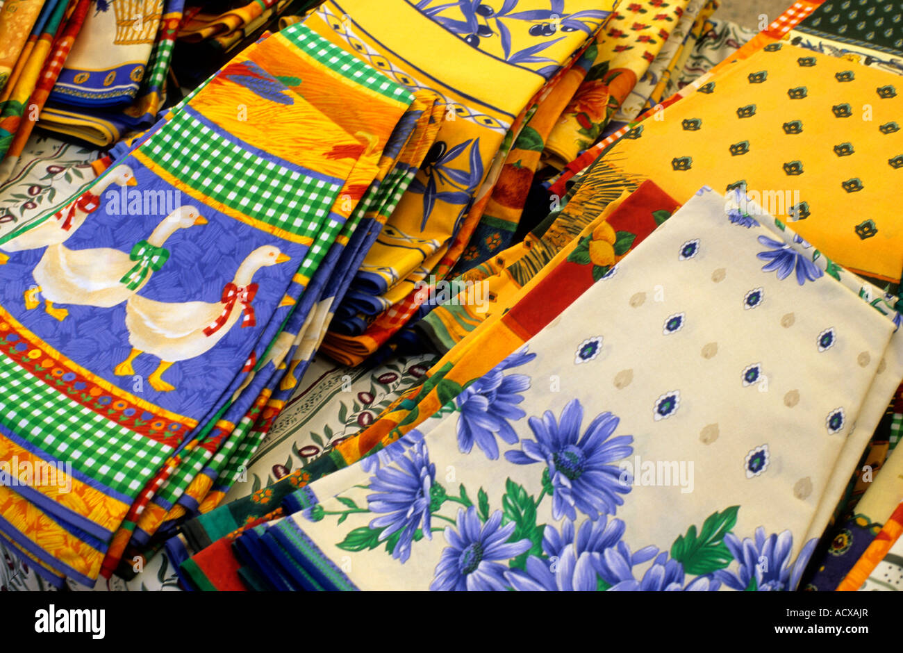 Pretty Traditional Tablecloths On A Provencal Market Stall, Provence, France