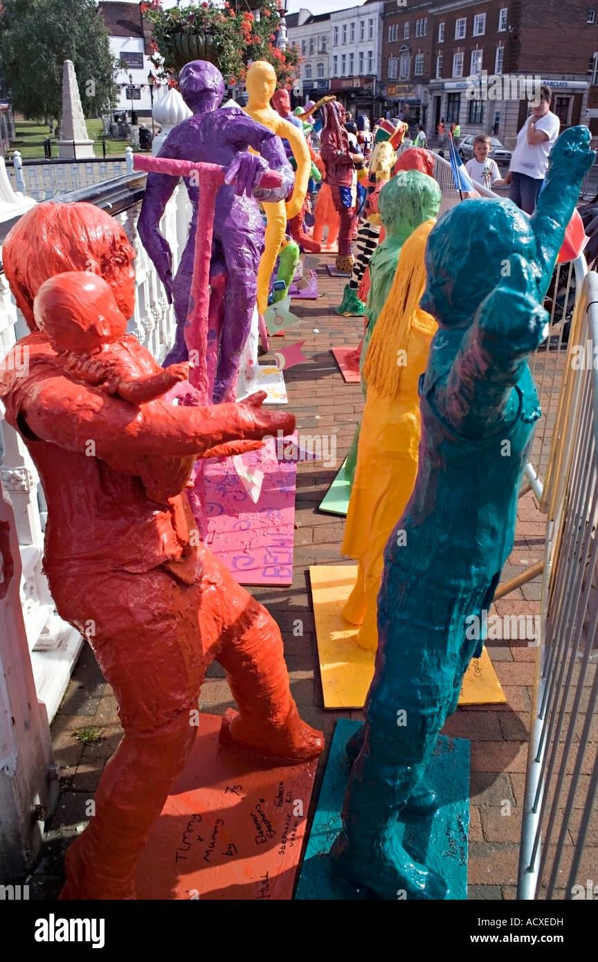 Papier-Mache Mannequins Made by Local Schoolchildren in Tonbridge, UK to celebrate the 2007 Tour de France passing - Stock Image