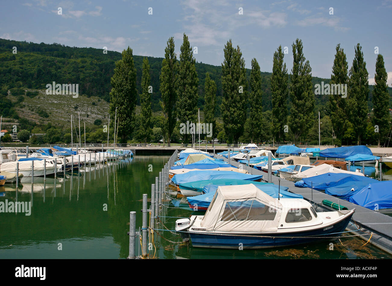 Marina in Biel Bienne Switzerland Europe - Stock Image