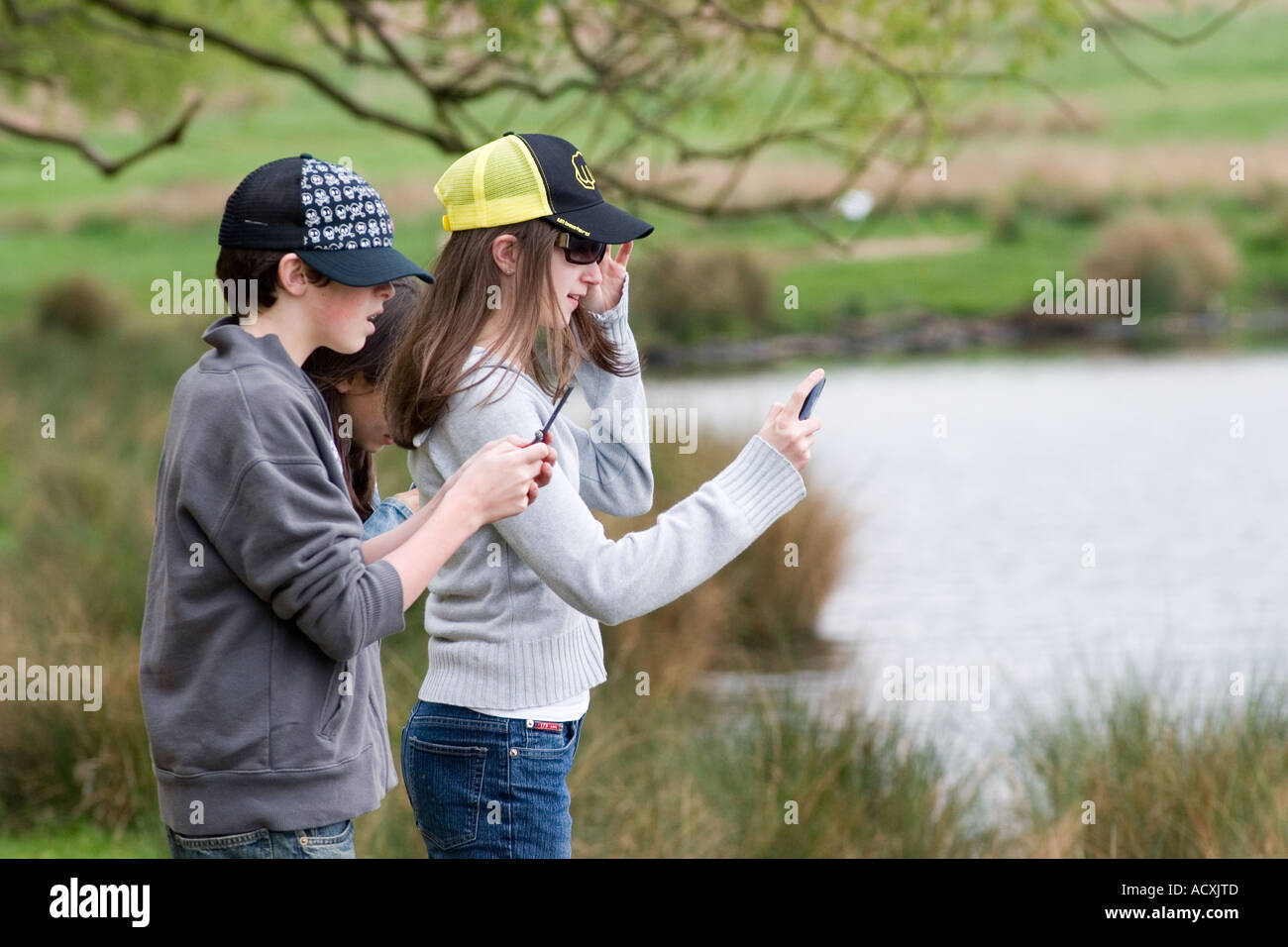 Young onlookers with cameraphones horrified by lethal attack on family of Egyptian geese in Richmond Park - Stock Image