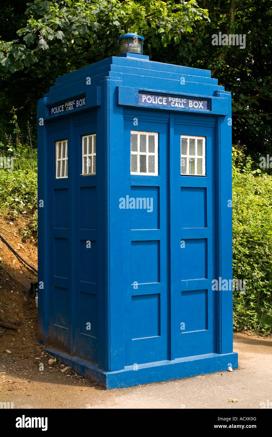 Blue police box at Crich Tramway Museum near Matlock in Derbyshire England UK - Stock Image