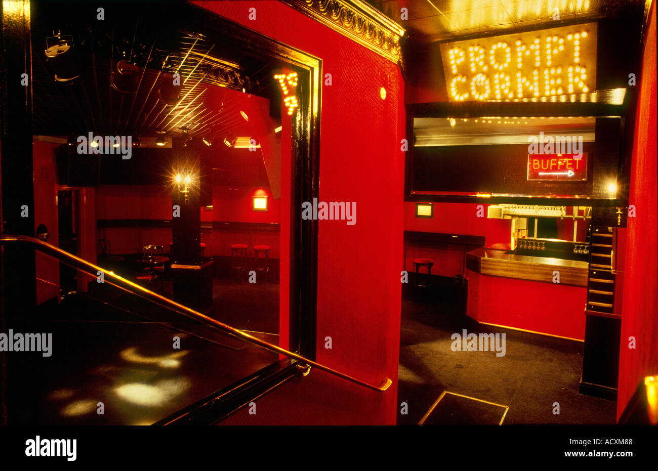 Prompt corner disco like theatre bar The Picadilly Theatre London Stock Photo