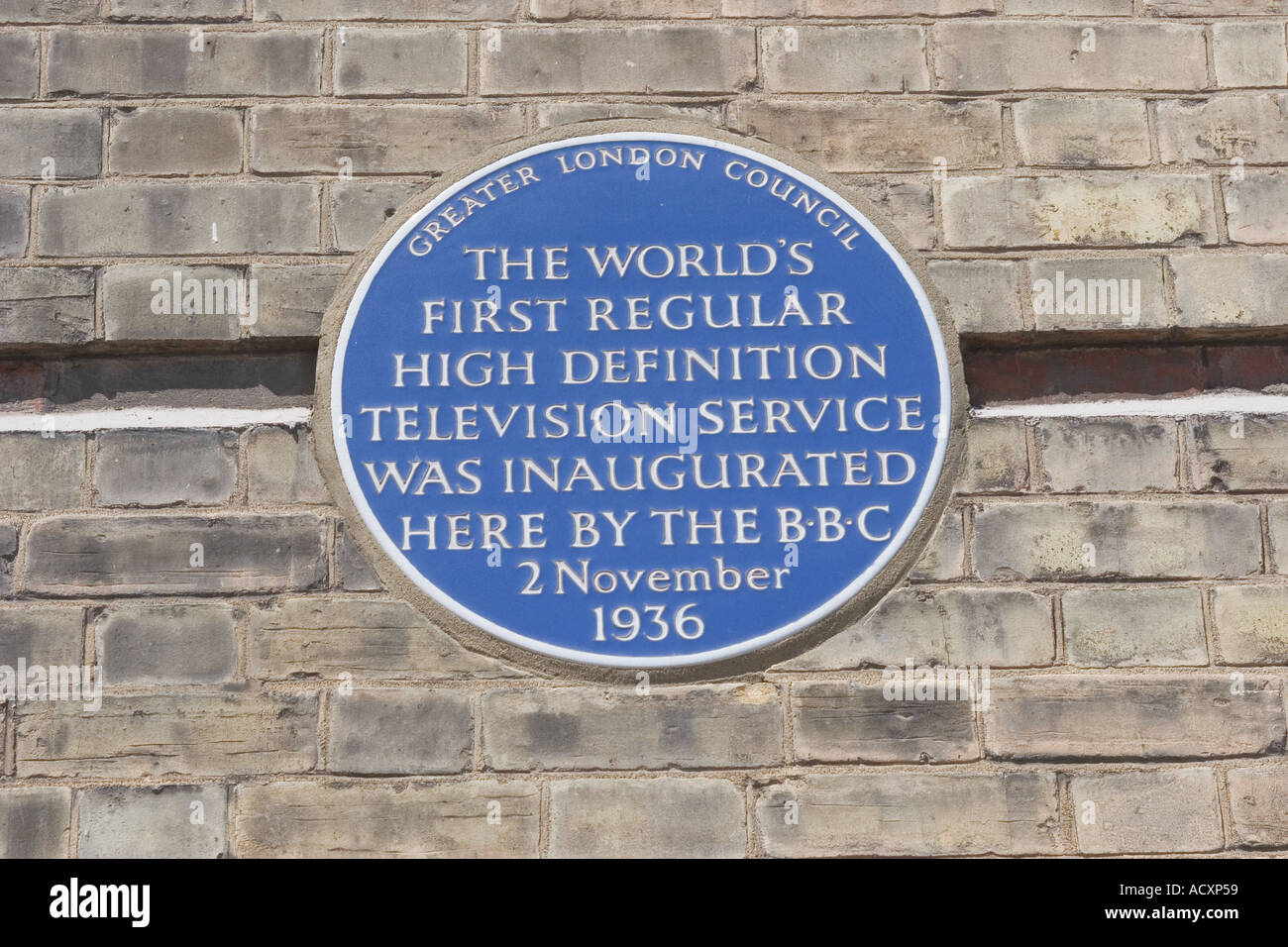 GLC Blue Plaque at Alexandra Palace and Television Transmitter in Muswell Hill London Worlds First high definition Television - Stock Image