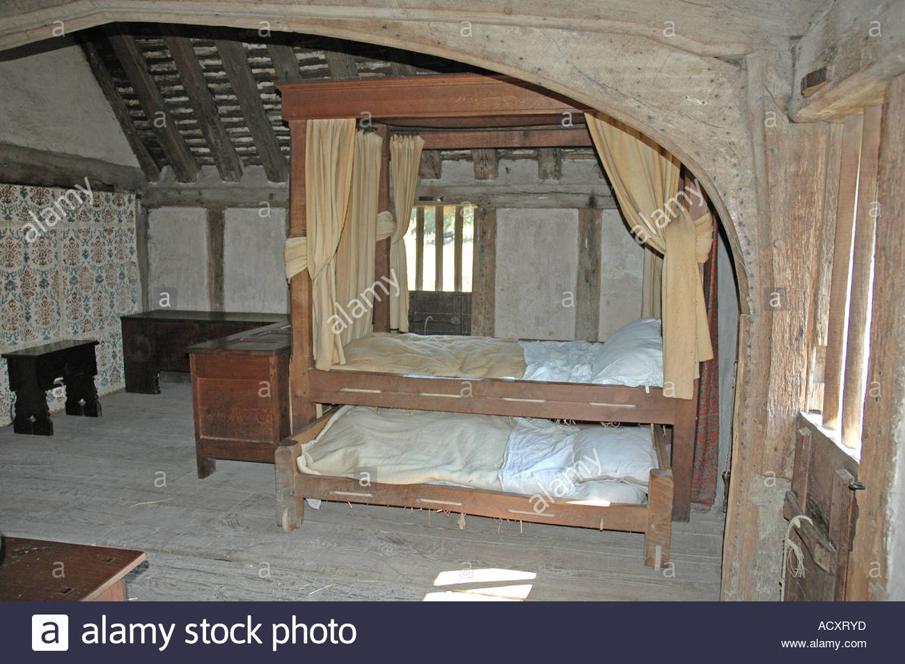 Early 15th Century, Tudor,Wealden, family room Bayleaf Farmhouse - Stock Image