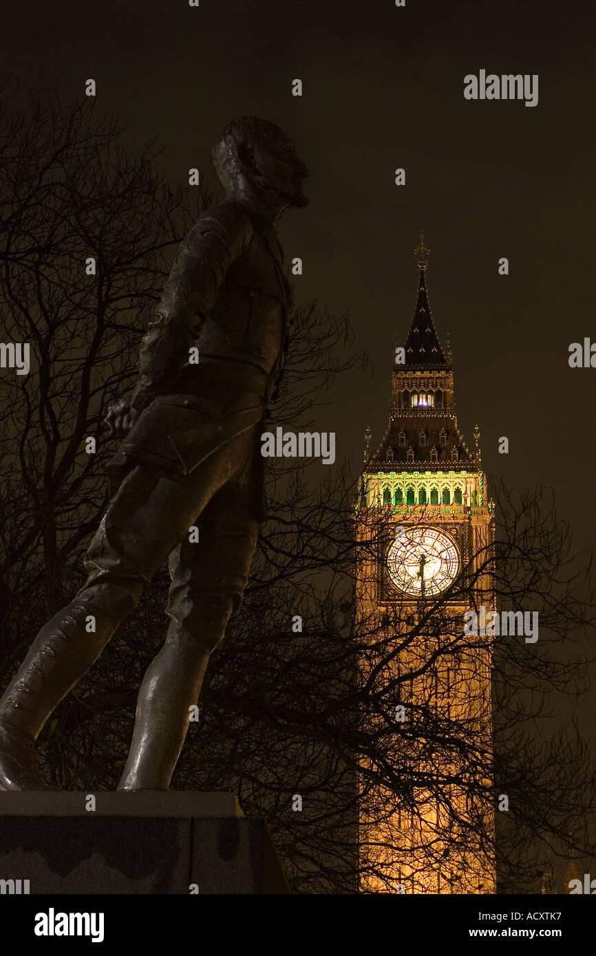 Statue of Jan Christian Smuts and Clock Tower Palace of Westminster London England UK - Stock Image