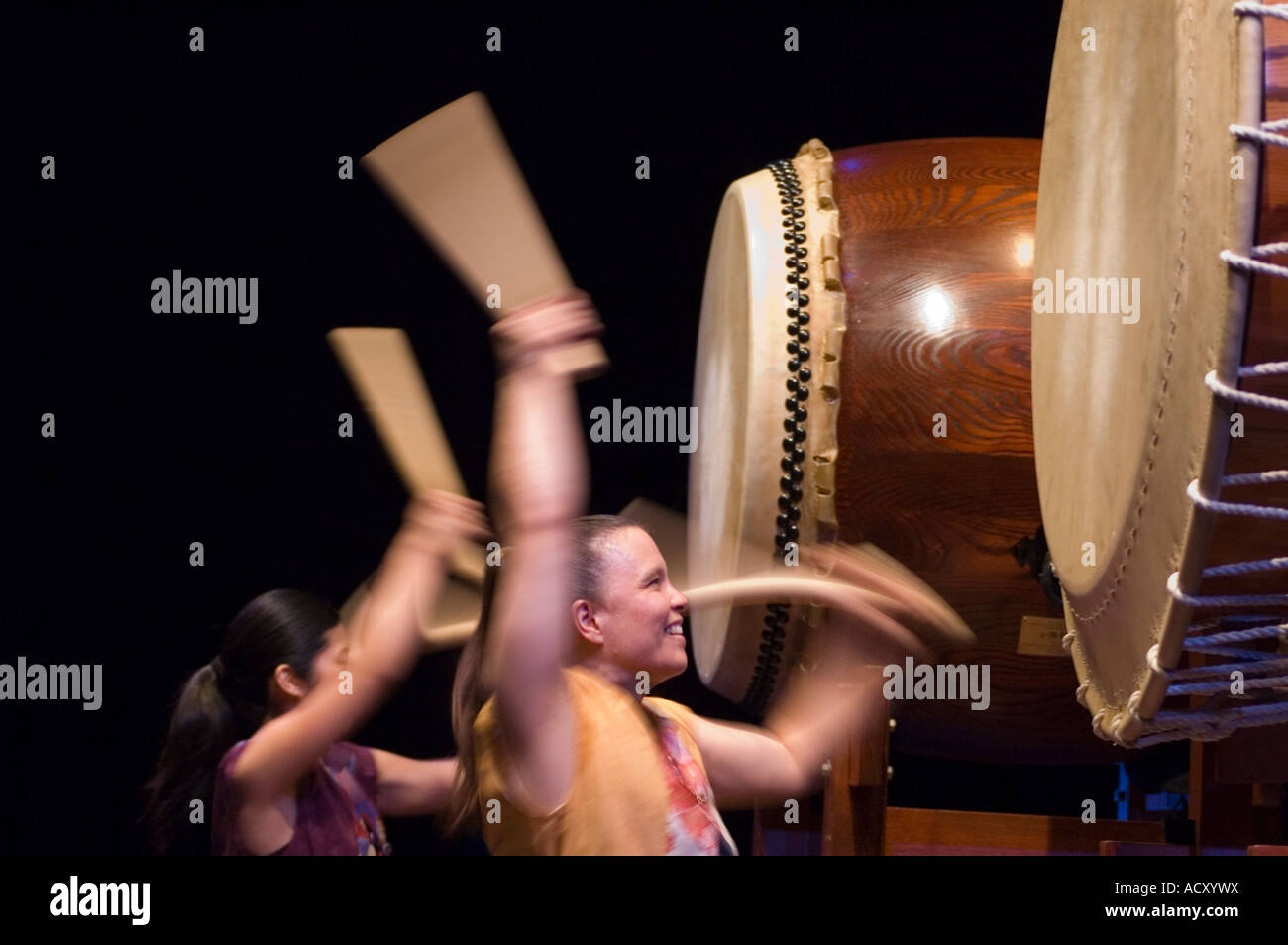 Members of Portland Taiko perform in concert at the Newmark Theatre of Portland Center for the Performing Arts Portland - Stock Image