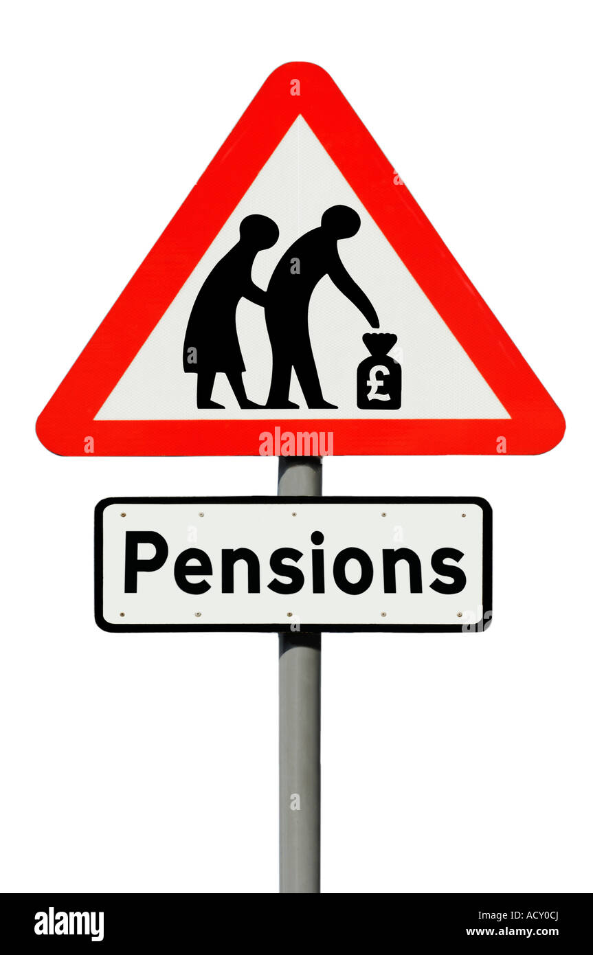Pensions road sign on white background - Stock Image
