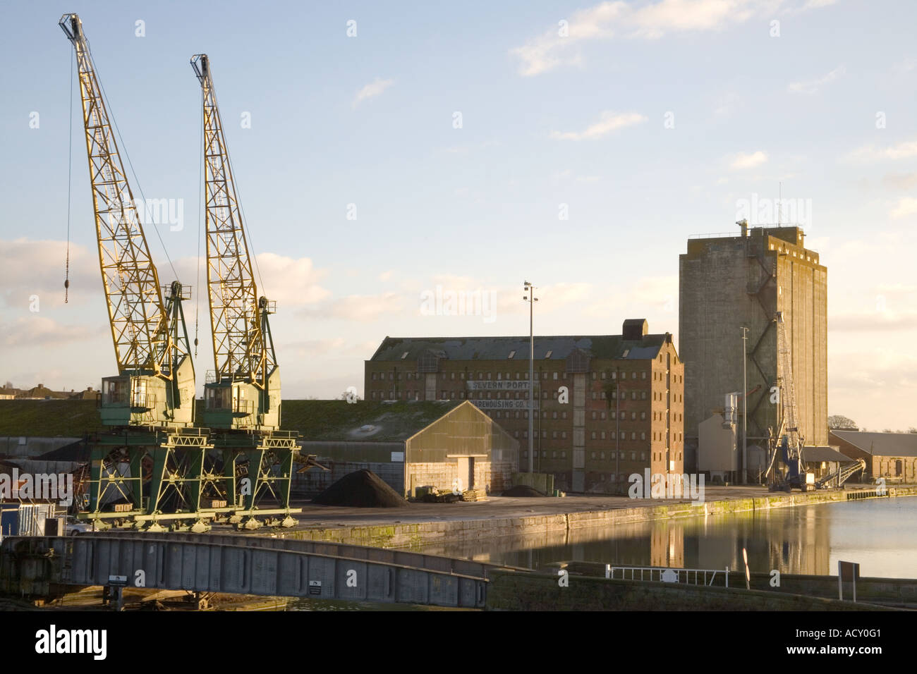 sharpness docks on the banks of the river severn in gloucestershire - Stock Image