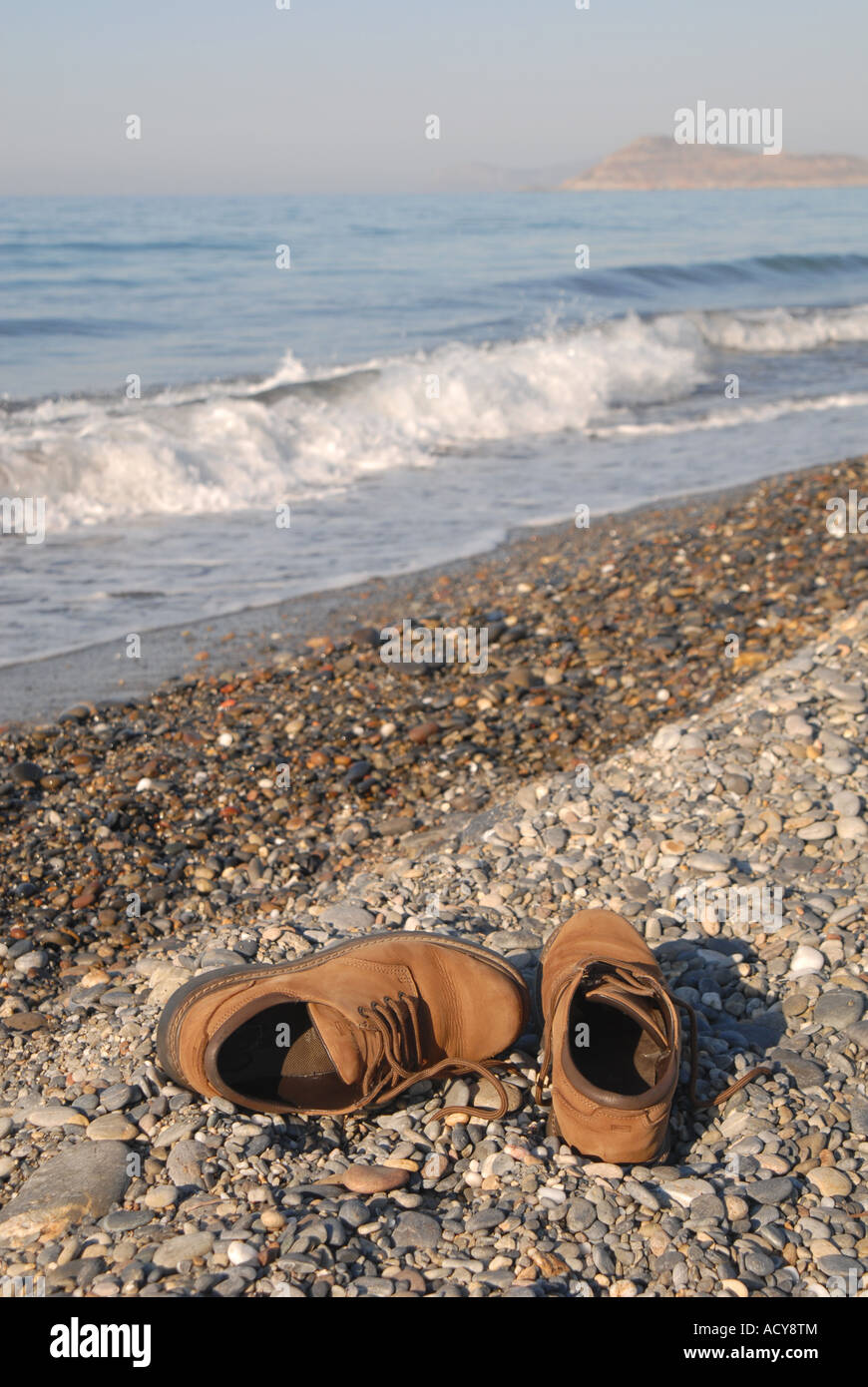 025bf5f38c26 CRETE Shoes on the beach at Maleme near Hania Stock Photo  13252579 ...