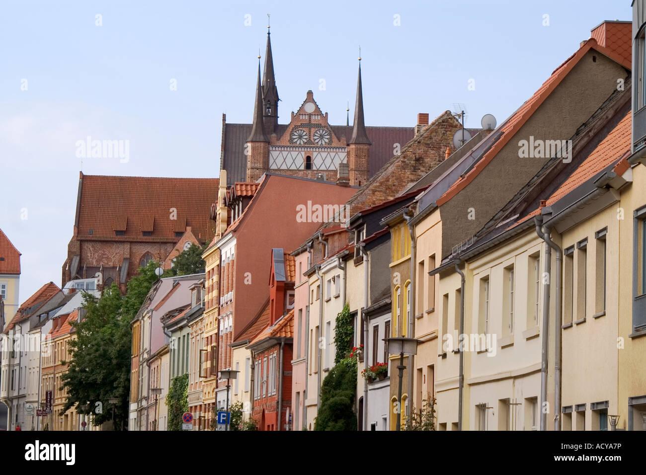 Wismar, city scene with Georgen church, Germany - Stock Image