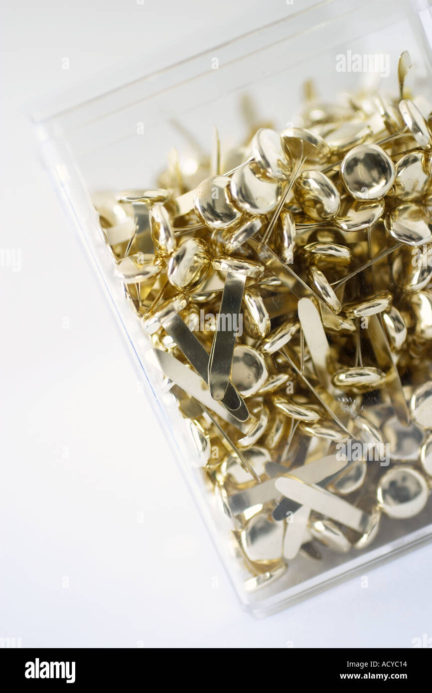 Brass fasteners in Plastic Box - Stock Image