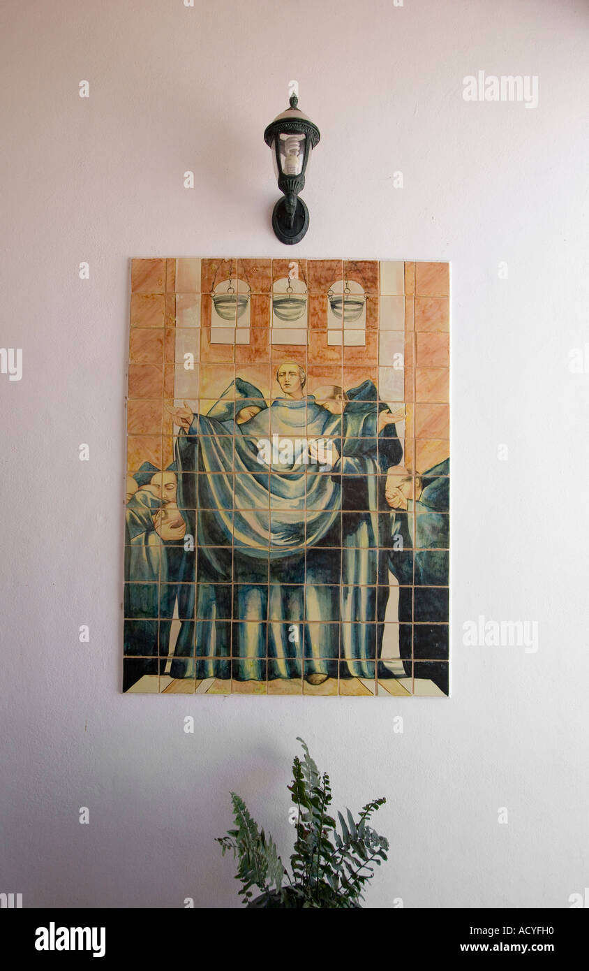 Mural of monks at the ATOTONILCO Franciscan Monastery chapel outside of SAN MIGUEL DE ALLENDE MEXICO - Stock Image