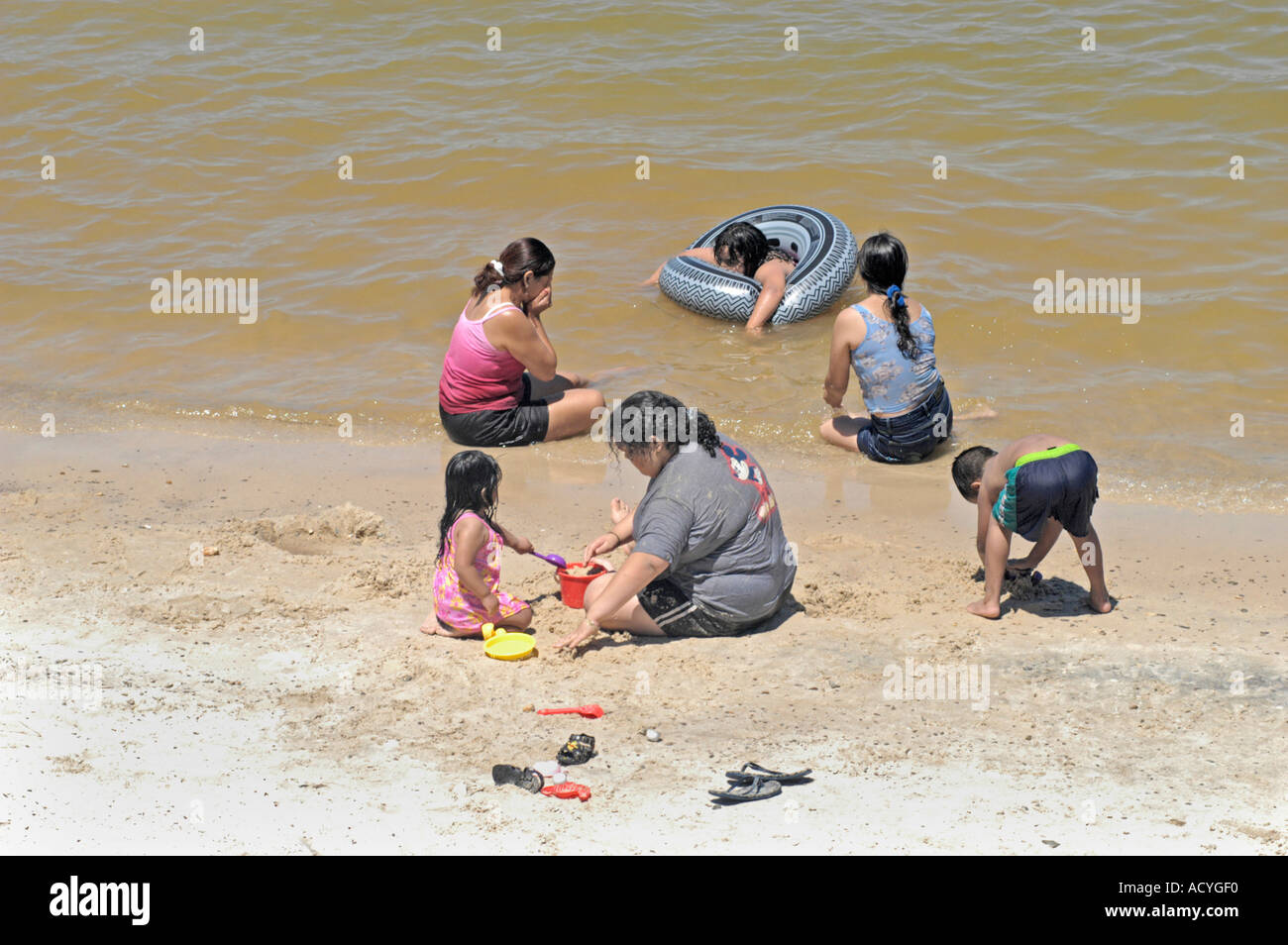 Hispanic Latin Mexican Family Time At The Carters Lake Beaches In