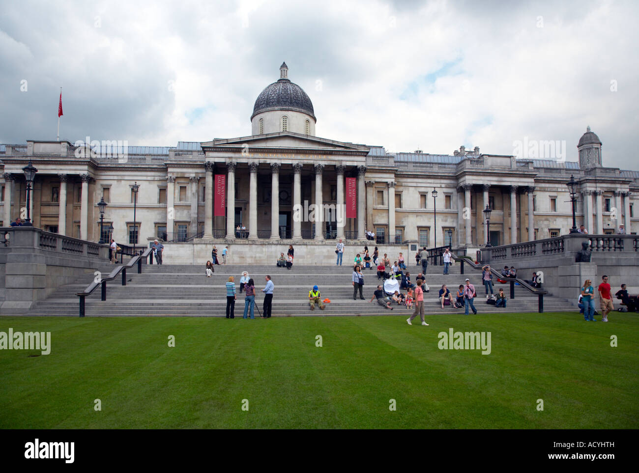 """National Gallery seen over turfed Trafalgar Square as part of """"Village London"""" event May 2007 Stock Photo"""