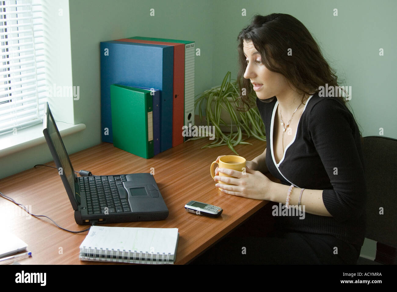 A worried woman having problems using a computer - Stock Image