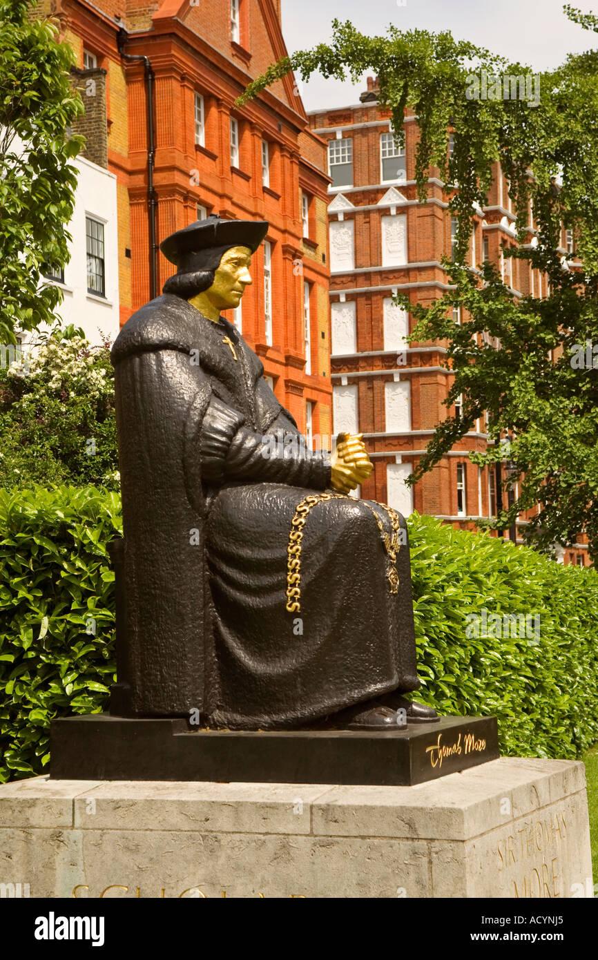 Statue of Saint Thomas More in Cheyne Walk Chelsea London England - Stock Image