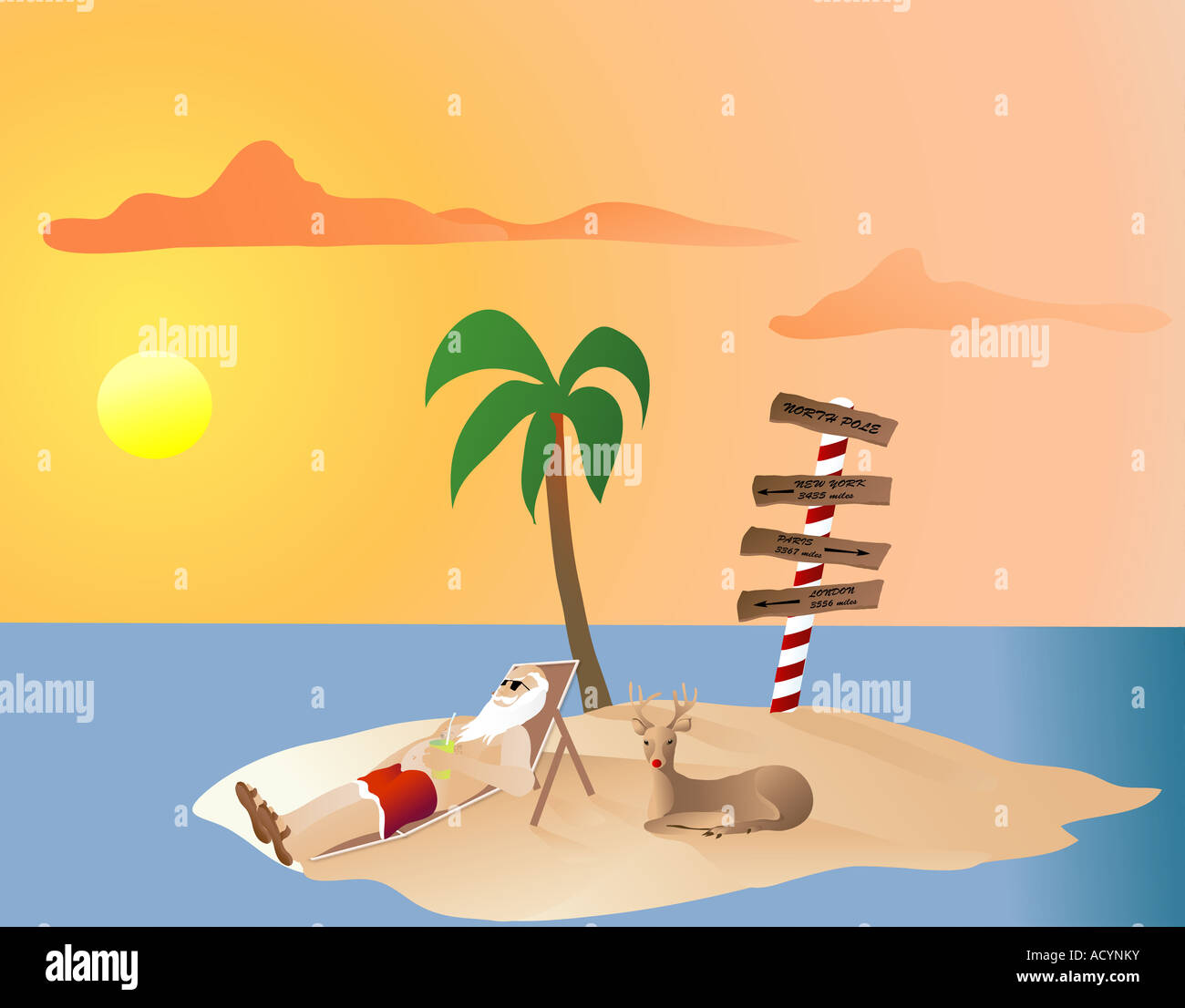 Santa Relaxing on the north pole turned into a tropical island with Rudolf - Stock Image