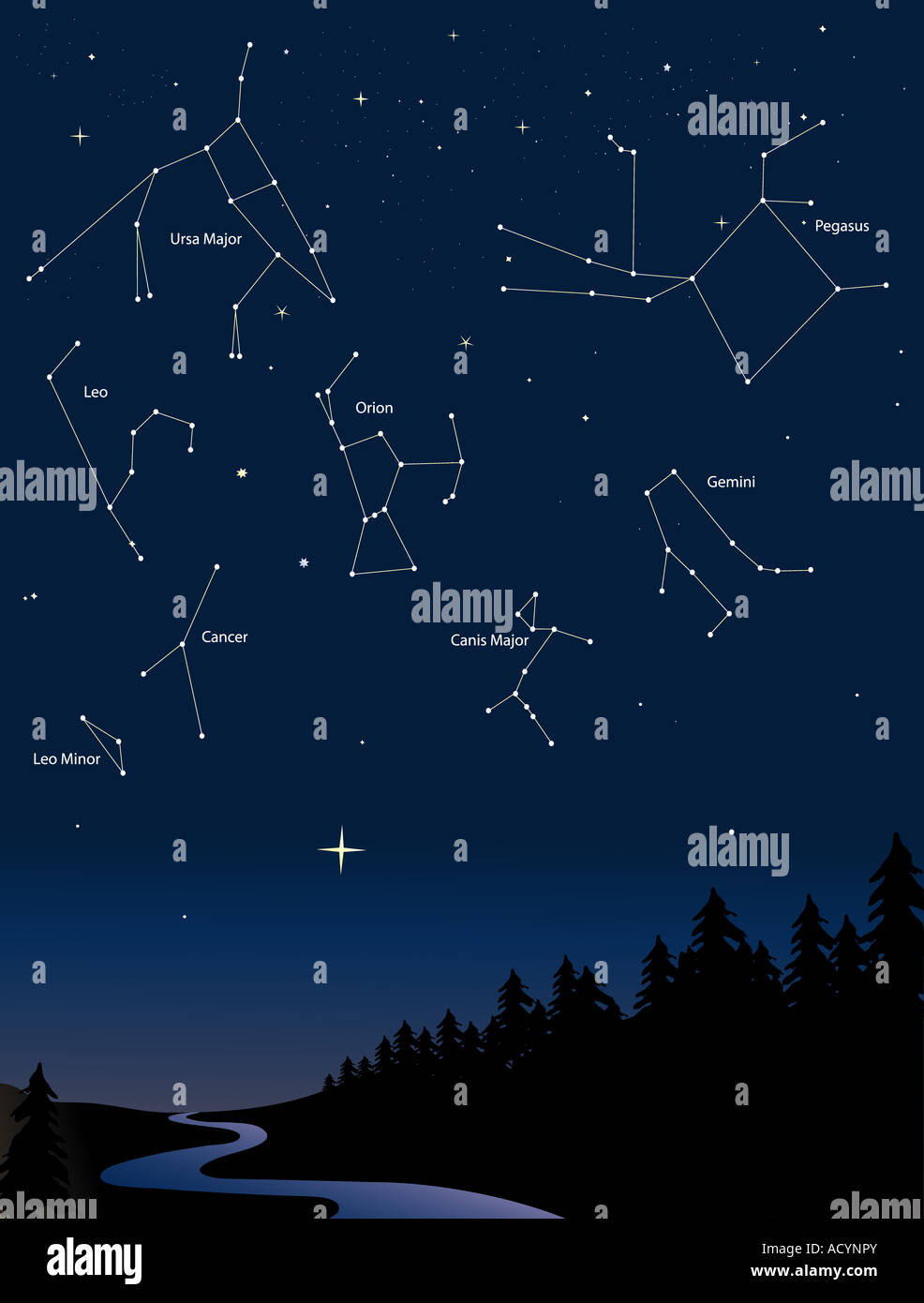 various constellations in a starry night sky - Stock Image