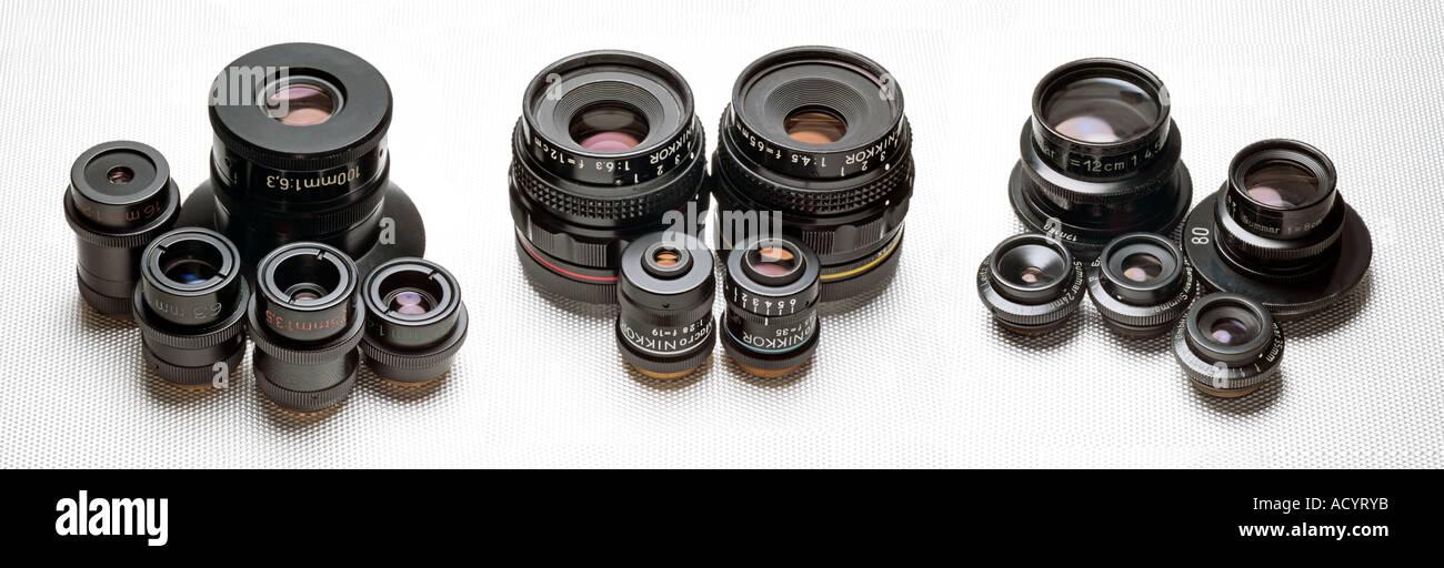 macro lenses by Zeiss Nikon and Leitz - Stock Image