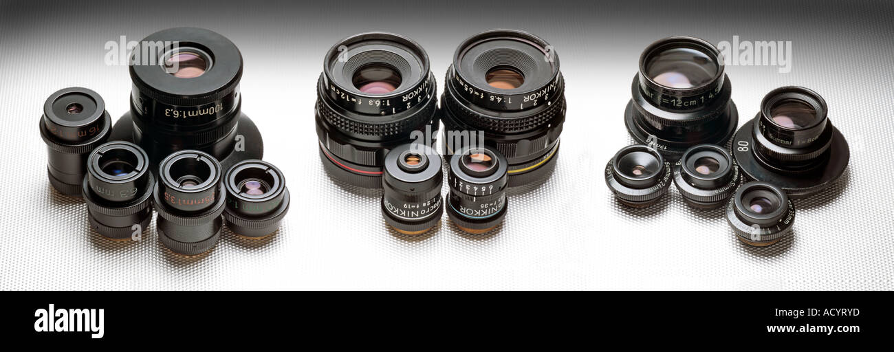 macro lenses by Zeiss Nikon and Leitz Stock Photo
