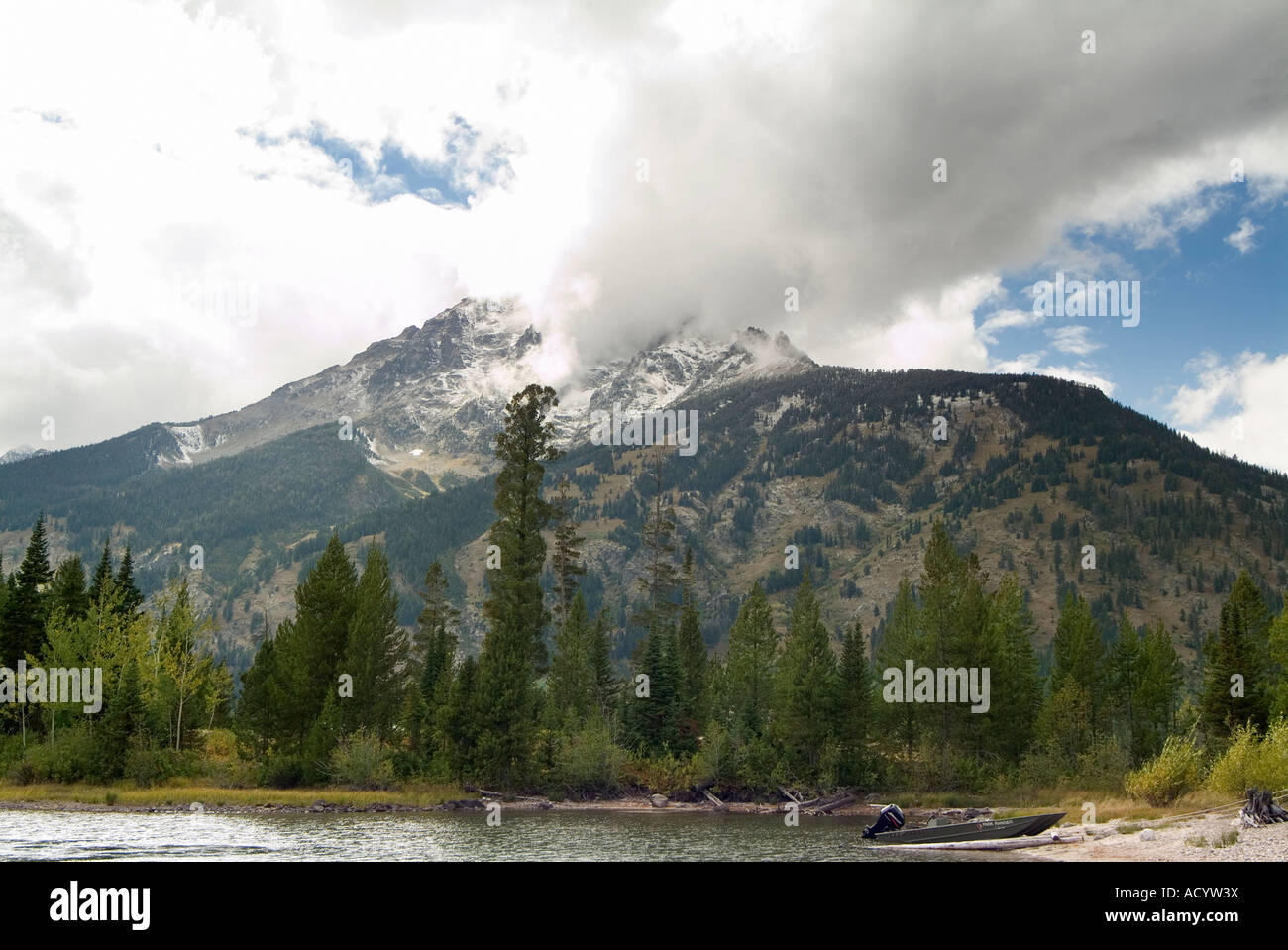 The Tetons from Jenny Lake. Grand Teton National Park. Wyoming State. USA - Stock Image