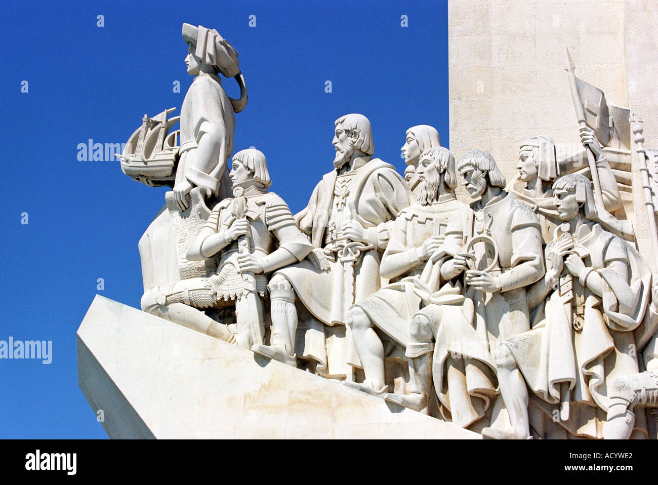 Monument to the Discoveries in Lisbon Portugal - Stock Image